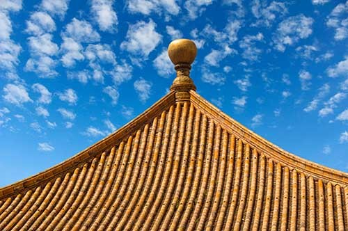 Glazed tile roof of a palace hall in the Forbidden City.